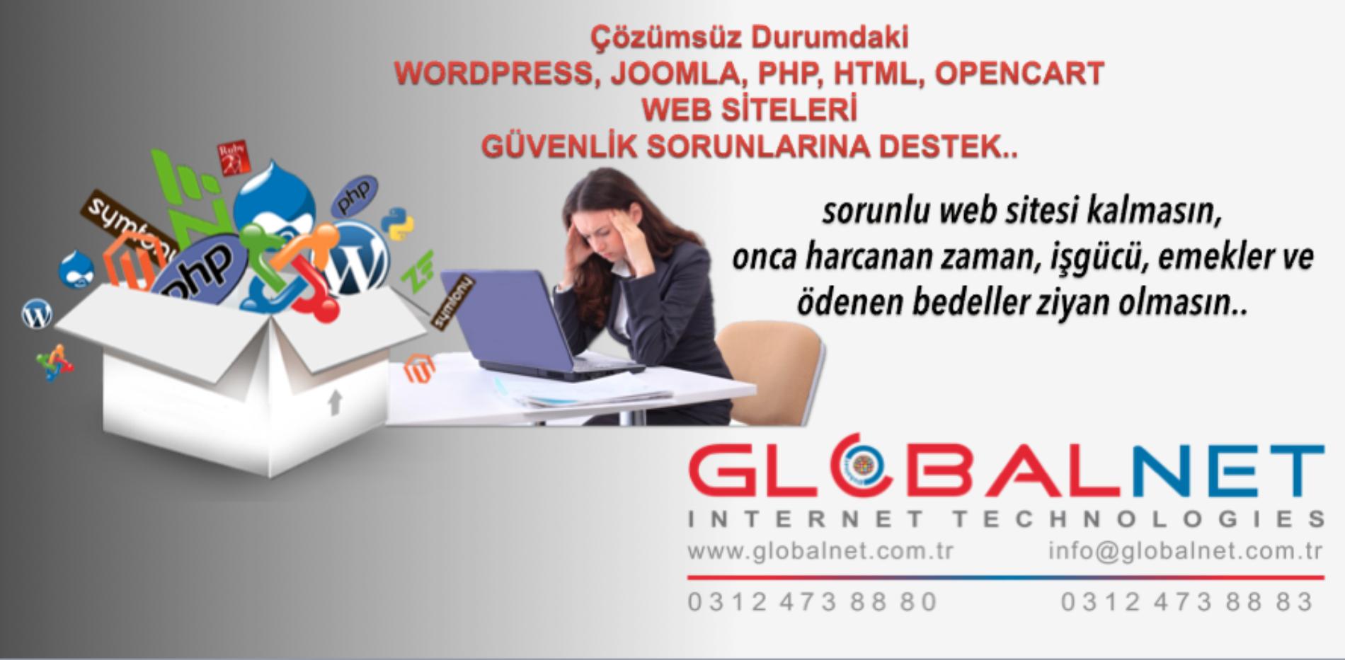 WORDPRESS JOOMLA PHP OPENCART WEB SİTESİ GÜVENLİK SORUNLARINA DESTEK