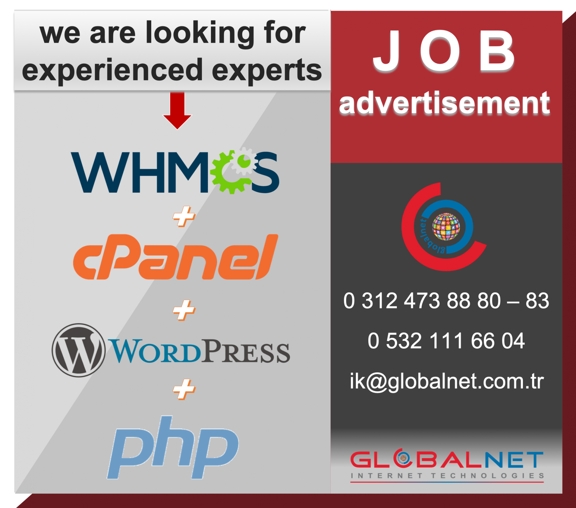 JOB Advertisement WHMCS + CPANEL + WORDPRESS + PHP