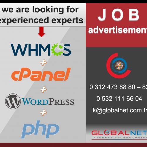 JOB Advertisement WHMCS + CPANEL + WORDPRESS + PHP